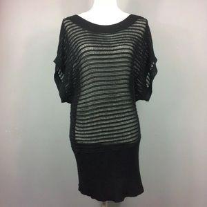 Torrid Black Mesh Short Sleeve Sweater Large